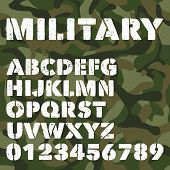 Old Military Alphabet, Bold Letters And Numbers On Army Green Camouflage Background. Stencil Vector  poster