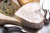 French Cheeses Plate In Assortment, Blue Cheese, Brie, Munster, Soft Goat Cheese, Neufchatel Heart S poster