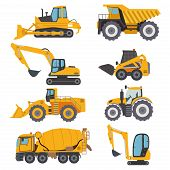 Construction Machinery Vehicle Industry Truck Equipment Heavy Machine Concrete Mixer, Loader And Cra poster