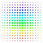 Mouse Head Icon Rainbow Colored Halftone Pattern. Vector Mouse Head Pictograms Arranged Into Halfton poster