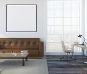 White Wall Living Room Interior With A Soft Brown Sofa, A Coffee Table And A Home Office In The Corn poster