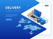 Isometric Logistics And Delivery Infographics. Delivery Home And Office. City Logistics. Warehouse,  poster