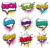 Ouch Super Shh Bam Set Hand Drawn Pictures Effects Template Comics Speech Bubble Halftone Dot Backgr poster