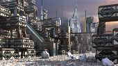 3d Illustration Of A Futuristic Settlement, With A Modular, Technologic Architecture On A Rocky Terr poster