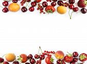 Mix Berries Isolated On A White. Ripe Apricots, Red Currants, Cherries And Strawberries. Berries And poster