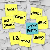 Many yellow sticky notes with words Office Politics, Scandals, Lies, Back-Stabbing, Spying, Rumors,