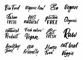 Big Set Of Eco Food Labels And Inscriptions Isolated On White Background Background. Modern Brush Le poster