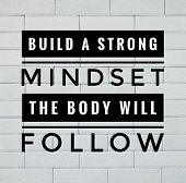 Motivational And Inspirational Quote - Build A Strong Mindset, The Body Will Follow. With Vintage St poster