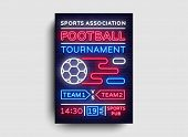 Soccer Tournament Flyer Vector. European Football Championship Poster, Neon Sign, Design Template Fo poster