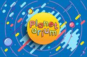 Planetarium Advertising Template. Vector Sun With Planetarium Word On Blue Space Background poster