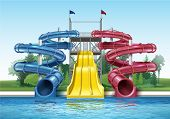 Vector Illustration Of Colored Plastic Water Slides With Pool In Outdoor Aqua Park. Isolated, Front  poster