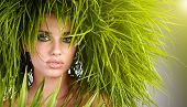 image of beautiful women  - Young  woman and abstract green hair - JPG