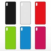 Phone Case Set. Blank Black, White, Red, Green, Blue, Pink. Phone Case. Icon. poster