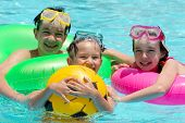 image of swimming pool family  - Children playing in pool - JPG