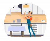 Electrician Profession Cartoon Icon Of Electrical Worker With Tool, Blue Uniform And Hard Hat. Repai poster