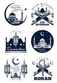Ramadan Kareem Icon For Islam Religion Holy Month Celebration Greeting Card. Muslim Mosque With Cres poster