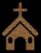 Halftone Hexagonal Christian Church Icon. Bright Golden Pictogram With Honey Comb Geometric Pattern  poster