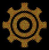 Halftone Hexagon Cogwheel Icon. Bright Golden Pictogram With Honeycomb Geometric Pattern On A Black  poster