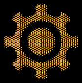 Halftone Hexagon Cogwheel Icon. Bright Yellow Pictogram With Honey Comb Geometric Pattern On A Black poster