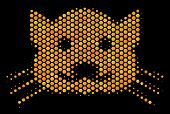 Halftone Hexagon Kitty Icon. Bright Golden Pictogram With Honeycomb Geometric Structure On A Black B poster
