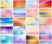 Big Set Of 20 Horizontal Wide Blurred Nature Backgrounds. Sunset And Sunrise Sea Blurred Background. poster