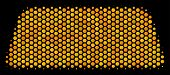 Halftone Hexagonal Treasure Brick Icon. Bright Gold Pictogram With Honey Comb Geometric Pattern On A poster