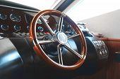Steering Wheel On A Luxury Sea Yacht. poster