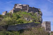 Mediaeval Castle On A Hill In Devin, Former Village Nowdays Part Of Bratislava City In Slovakia poster