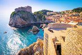 Dubrovnik Bay And Historic Walls View, Tourist Destination In Dalmatia, Croatia poster