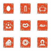 Office Entertainment Icons Set. Grunge Set Of 9 Office Entertainment Vector Icons For Web Isolated O poster