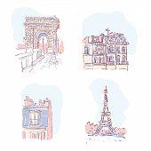 Set Of Stylish Vector Illustrations Of Paris Landmarks. Vector Eiffel Tower Illustration. Paris Buil poster