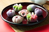 Japanese Traditional Confectionery Cake Wagashi Served On Plate poster