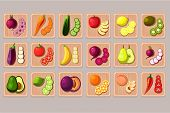 Collection Of Fruits And Vegetables On Wooden Cutting Boards. Natural And Tasty Products. Cooking In poster