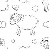 Fuzzy Sheep Flying In The Clouds. Seamless Pattern Background. Vector Illustration. poster