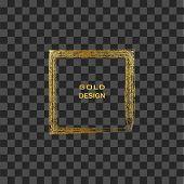Grunge Golden Frame On Transparent Background. Square Luxury Vintage Border, Stamp.trendy, Label, Lo poster