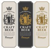 Set Of Three Beer Labels With A Full Glass Of Beer, Wheat Ears, Crown And Place For Text. Vector Lab poster