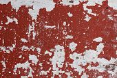 Distressed Painted Wall Texture With Red Paint Stains And White Background. Painted Texture In Obsol poster