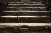 Old Stone Staircase. Ancient Temple Interior. Ancient Stone Stairs. Historic Site Concept Photo For  poster