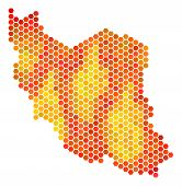 Постер, плакат: Iran Map Vector Hexagon Territory Plan Drawn With Bright Orange Color Tinges Abstract Iran Map Con
