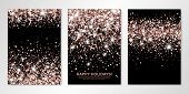 Banners Set With Nude Confetti On Black. Vector Flyer Design Templates For Wedding, Invitation Cards poster