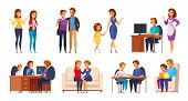 Children Parents Parenthood Cartoon Characters Collection With Kids And Genitors Human Characters In poster
