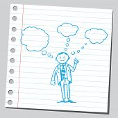 pic of bubble sheet  - Businessman having ideas - JPG