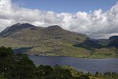Slioch (981m Left) And Gleann Bianasdail (right), Loch Maree, Highland, Scotland  Viewed From Mounta poster