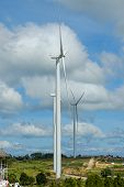 Wind Turbines Generating Electricity With  Sky Background,from Wind Power For Environmental,clean En poster