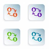 Color Oil Exchange, Water Transfer, Convert Icon Isolated On White Background. Set Icons In Square B poster