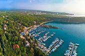 Town Of Omisalj On Krk Island Pesja Bay Aerial View, Kvarner Bay Of Croatia poster