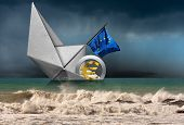Euro Currency Symbol, 3d Illustration, Sinking Aboard Of A Paper Boat With The European Union Flag,  poster