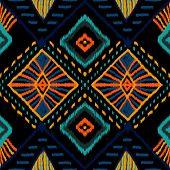 Coral Retro Tie Dye. Indigo Carpet Vector Seamless Pattern. Indonesian Carpet Boho Texture. Crimson  poster