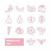 Metaphorical Icons Set. Fruits And Vegetables Metaphor. Vector Icons. poster