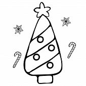 Christmas Tree. Jewelry From Toys. Caramel Cane And Snowflakes. Colorless Background. Coloring Book  poster